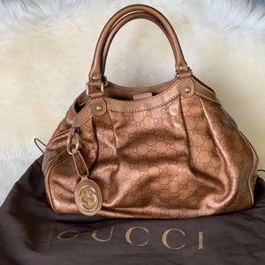 Gucci Monogram Metallic Copper Leather Hobo